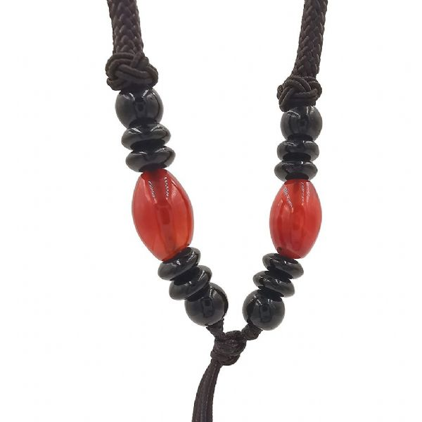 Blood Orange Colour and Black Agate Beads  on Dark Brown Cord  27in